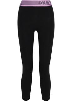 Dkny Woman Monogram-trimmed Stretch-cotton Leggings Black