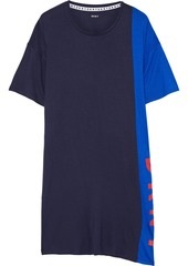 Dkny Woman New York Energy Printed Two-tone Stretch-jersey Nightshirt Navy