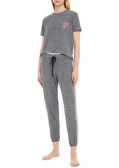 Dkny Woman Paneled Mélange Jersey Pajama Pants Gray
