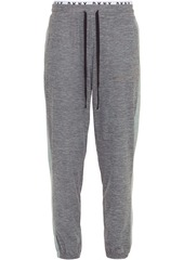 Dkny Woman Paneled Mélange Jersey Pajama Pants Navy