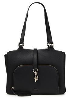 Dkny Woman Perri Color-block Pebbled-leather Tote Black