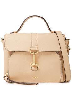 Dkny Woman Paris Clasp-detailed Pebbled-leather Shoulder Bag Beige