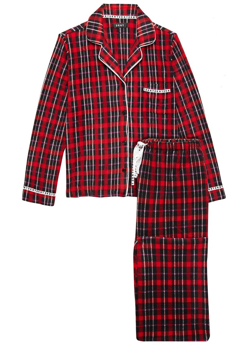 Dkny Woman To Me From Me Checked Fleece Pajama Set Claret