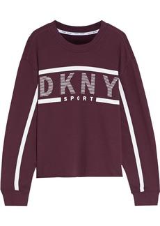 Dkny Woman Printed Cotton-blend Fleece Sweatshirt Plum