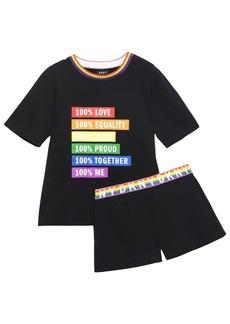 Dkny Woman Printed Cotton-blend Jersey Pajama Set Black