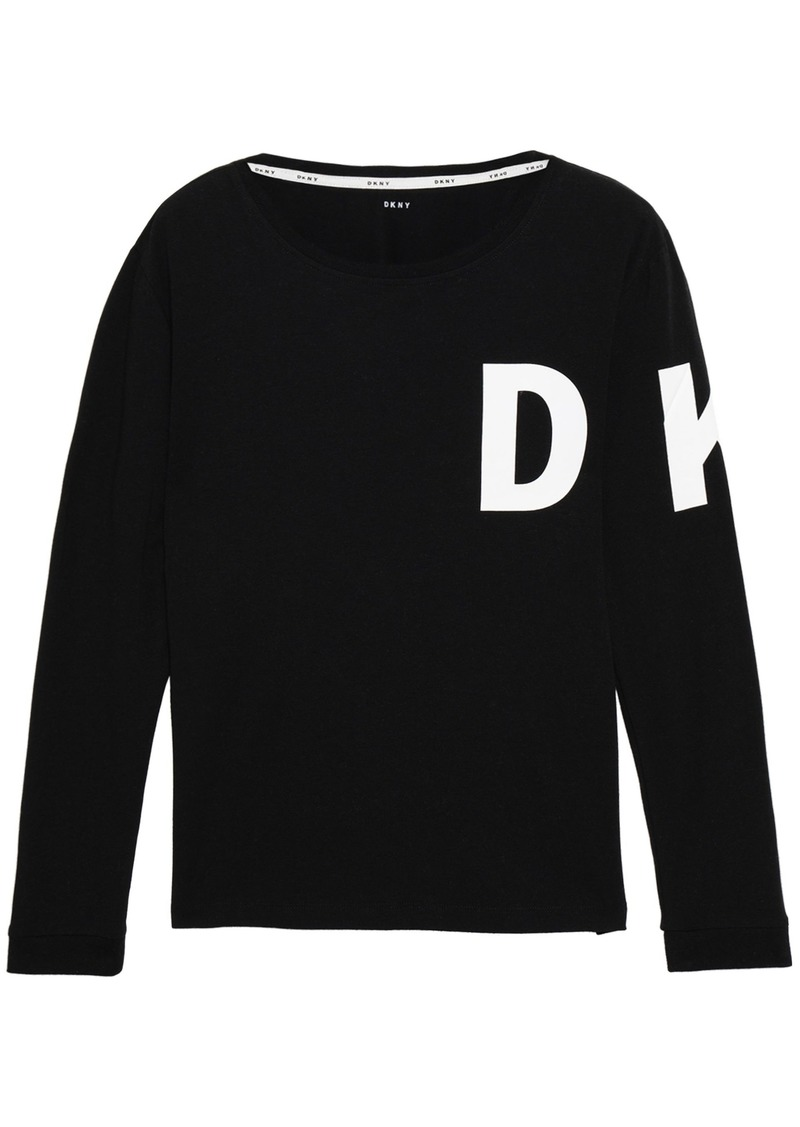 Dkny Woman Printed Cotton-blend Jersey Pajama Top Black