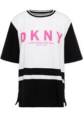 Dkny Woman Leaving Our Mark Logo-appliquéd Leopard-print Cotton-blend Jersey Pajama Top White