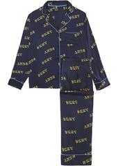 Dkny Woman Printed Crepe De Chine Pajama Set Midnight Blue