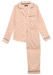 Dkny Woman Printed Crepe De Chine Pajama Set Black