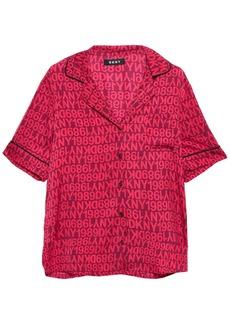 Dkny Woman Only In Dkny Logo-print Crepe De Chine Pajama Set Crimson