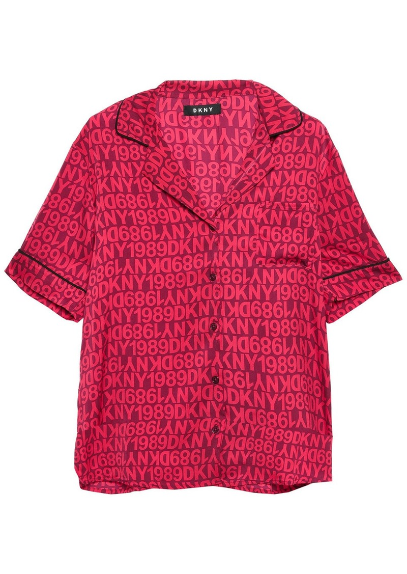 Dkny Woman Only In Dkny Logo-print Crepe De Chine Pajama Set Crimson