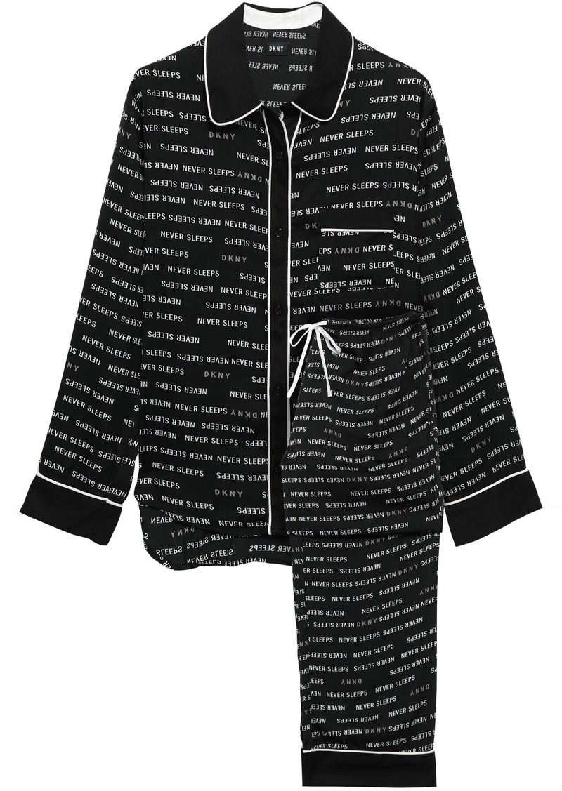 Dkny Woman Printed Crepe De Chine Pajamas Black