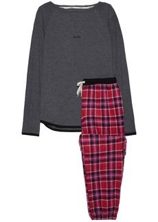Dkny Woman Jersey And Checked Fleece Pajama Set Dark Gray