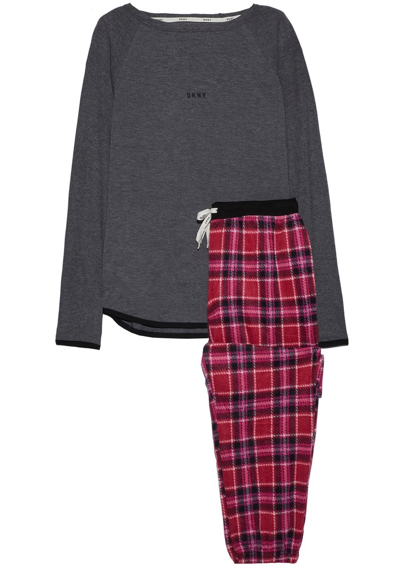 Dkny Woman Jersey And Checked Fleece Pajama Set Dark Gray