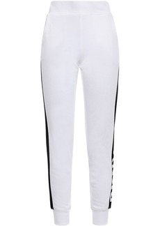 Dkny Woman Printed French Cotton-blend Terry Track Pants White