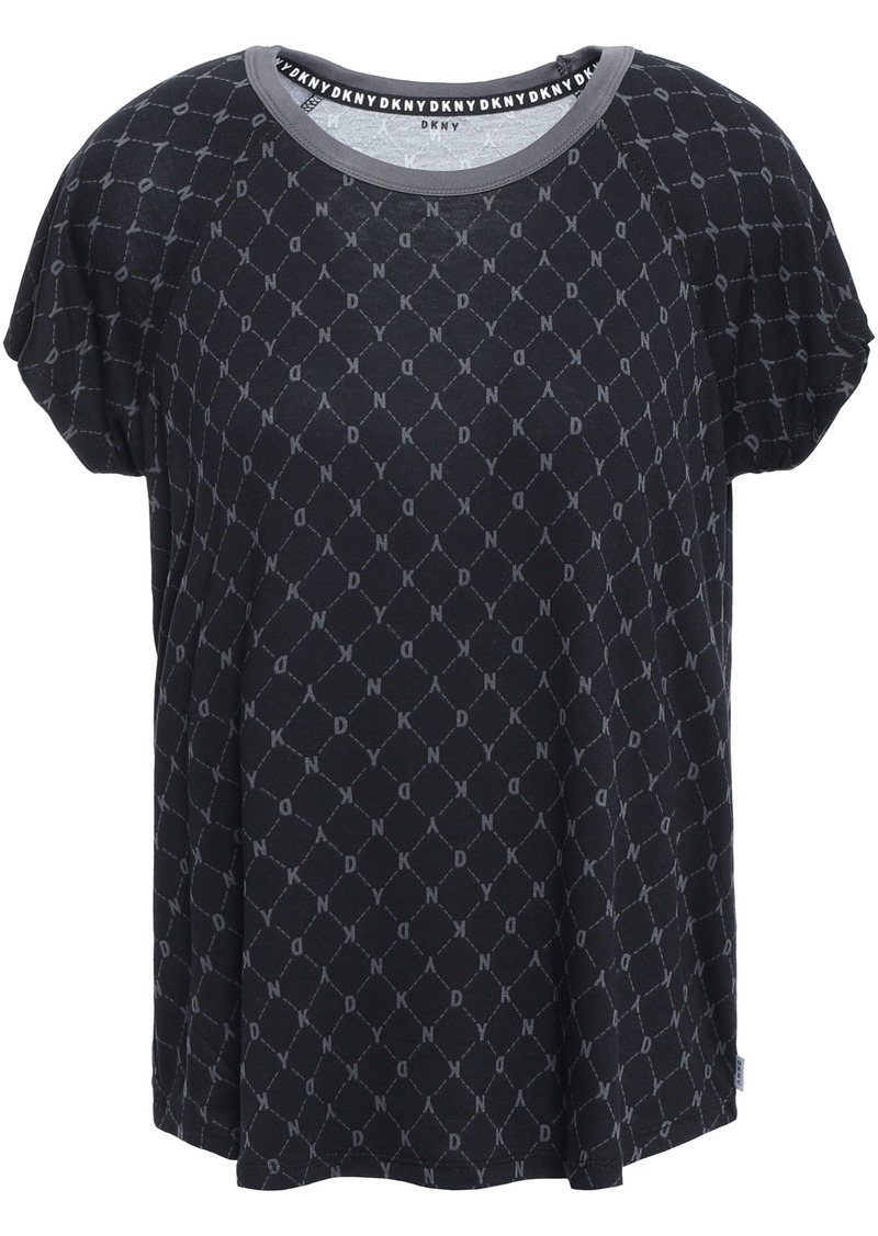 Dkny Woman Printed Jersey Pajama Top Black