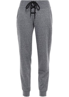 Dkny Woman Lace-up Printed French Cotton-blend Terry Track Pants Anthracite