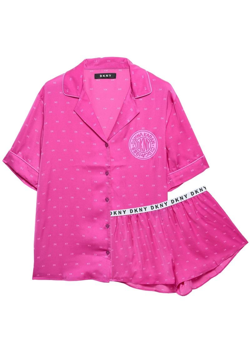 Dkny Woman Printed Satin-crepe Pajama Set Fuchsia