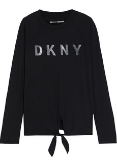 Dkny Woman Knotted Appliquéd Stretch Cotton And Modal-blend Jersey Top Black