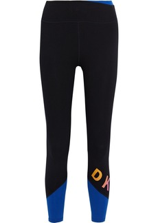 Dkny Woman Printed Stretch-cotton Jersey Leggings Black