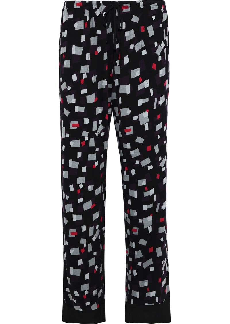 Dkny Woman Printed Stretch-jersey Pajama Pants Black