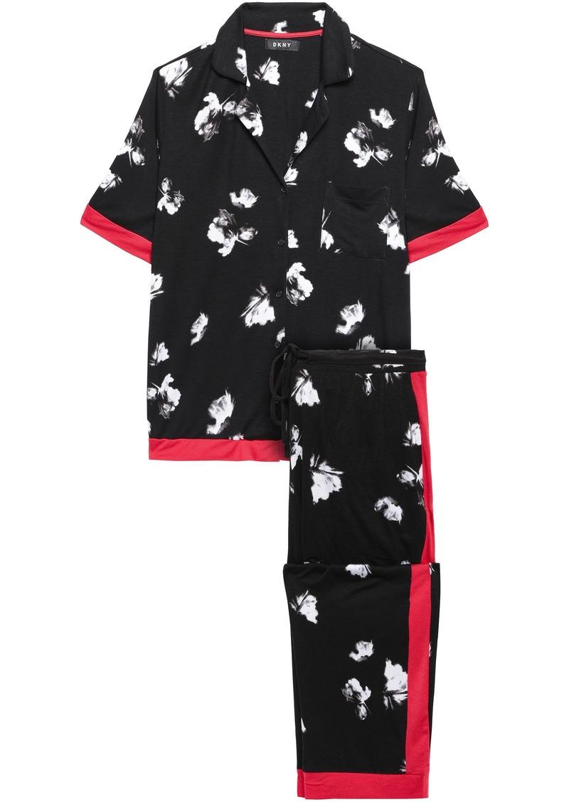 Dkny Woman Printed Stretch-jersey Pajama Set Black