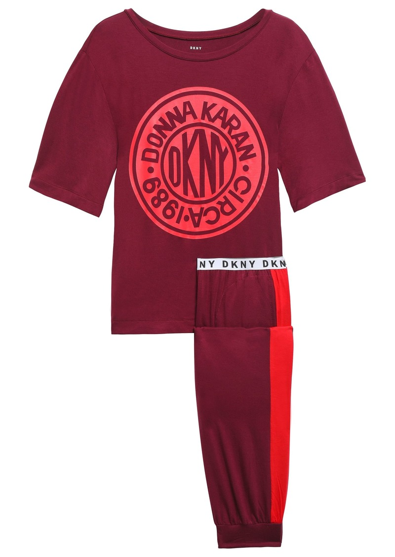 Dkny Woman Printed Stretch-jersey Pajama Set Burgundy