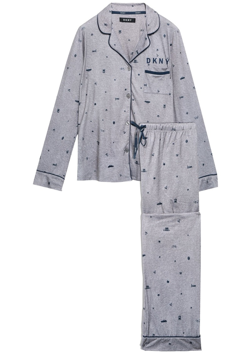 Dkny Woman Printed Stretch-jersey Pajama Set Gray