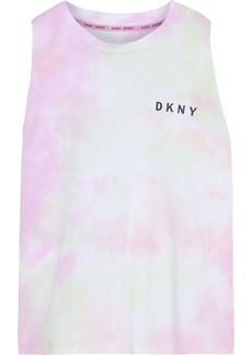 Dkny Woman Printed Tie-dyed Cotton-jersey Tank Multicolor