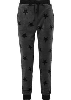 Dkny Woman Printed Velour Pajama Pants Gray