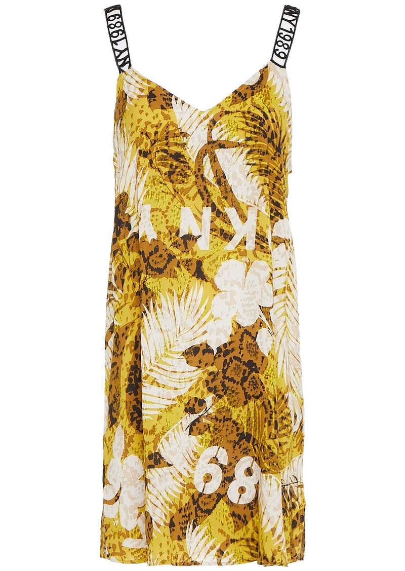 Dkny Woman Printed Woven Nightdress Lime Green
