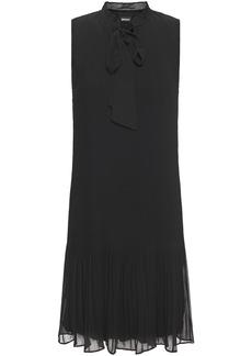 Dkny Woman Pussy-bow Plissé-georgette Dress Black