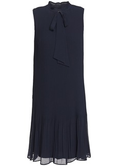 Dkny Woman Pussy-bow Plissé-georgette Mini Dress Navy