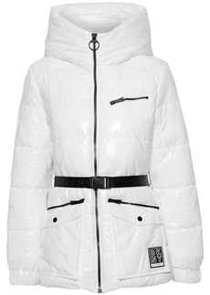 Dkny Woman Belted Quilted Glossed-shell Hooded Jacket White