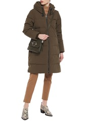 Dkny Woman Quilted Shell Down Hooded Coat Army Green