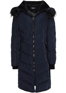 Dkny Woman Quilted Shell Hooded Down Coat Navy