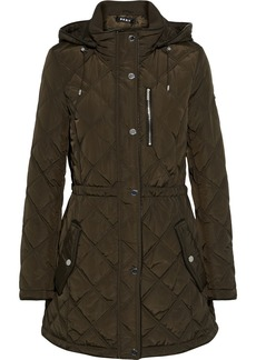 Dkny Woman Quilted Shell Hooded Jacket Army Green
