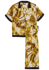 Dkny Woman Rooftop Ready Cropped Printed Crepe De Chine Pajama Set Marigold