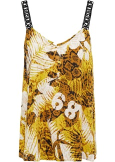 Dkny Woman Rooftop Ready Logo-embroidered Printed Voile Camisole Chartreuse