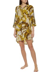 Dkny Woman Rooftop Ready Logo-embroidered Printed Voile Nightshirt Chartreuse