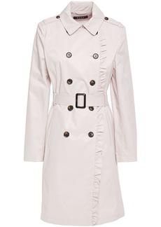Dkny Woman Ruffle-trimmed Cotton-blend Gabardine Trench Coat Light Gray