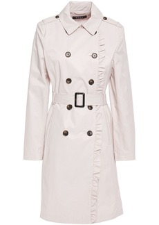 Dkny Woman Ruffle-trimmed Cotton-blend Gabardine Trench Coat Light Gray