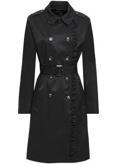 Dkny Woman Ruffle-trimmed Cotton-blend Gabardine Trench Coat Black