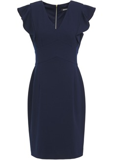 Dkny Woman Ruffled Stretch-crepe Dress Navy