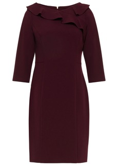 Dkny Woman Ruffle-trimmed Stretch-crepe Mini Dress Merlot
