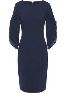 Dkny Woman Ruffled Georgette-paneled Stretch-crepe Dress Navy