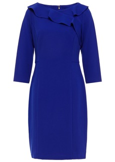 Dkny Woman Ruffled Stretch-crepe Mini Dress Bright Blue
