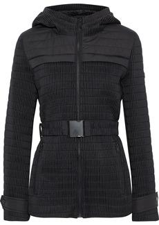 Dkny Woman Scuba-paneled Shirred Shell Hooded Jacket Black