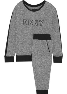 Dkny Woman Embroidered Mélange Stretch-knit Pajama Set Anthracite