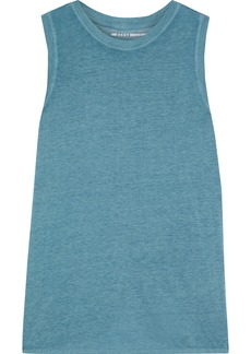 Dkny Woman Split-back Slub Jersey Tank Turquoise